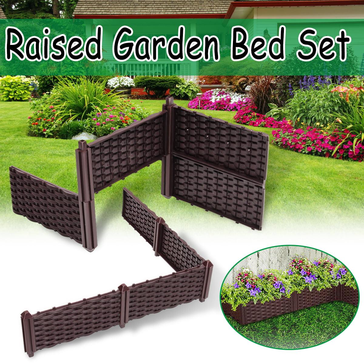 Dark Brown Raised Garden Bed Set Flower Vegetables Seeds