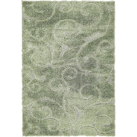 Shag Vine Shag Collection Area Rug in Sage Color and Rectangle, Runner Shape