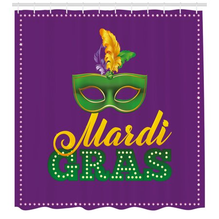 Mardi Gras Shower Curtain, Green Mask with Colorful Feathers on Purple Backdrop Styled Calligraphy, Fabric Bathroom Set with Hooks, Purple Green Yellow, by Ambesonne (Mardi Gras Backdrop)