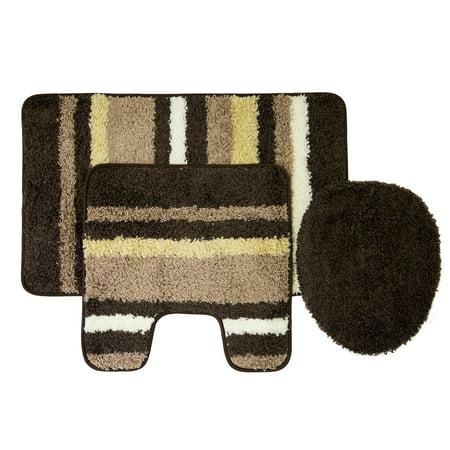 Cyprus 3 Piece Striped Bathroom Rug Mat Set - Rug, Contour & Lid Cover - Walmart.com
