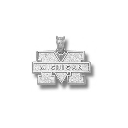 NCAA - Michigan Wolverines Sterling Silver Block ''M MICHIGAN'' Pendant