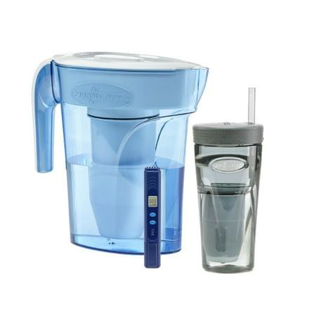 zero water zp 006 6 cup ion exchange water dispenser pitcher tumbler combo. Black Bedroom Furniture Sets. Home Design Ideas