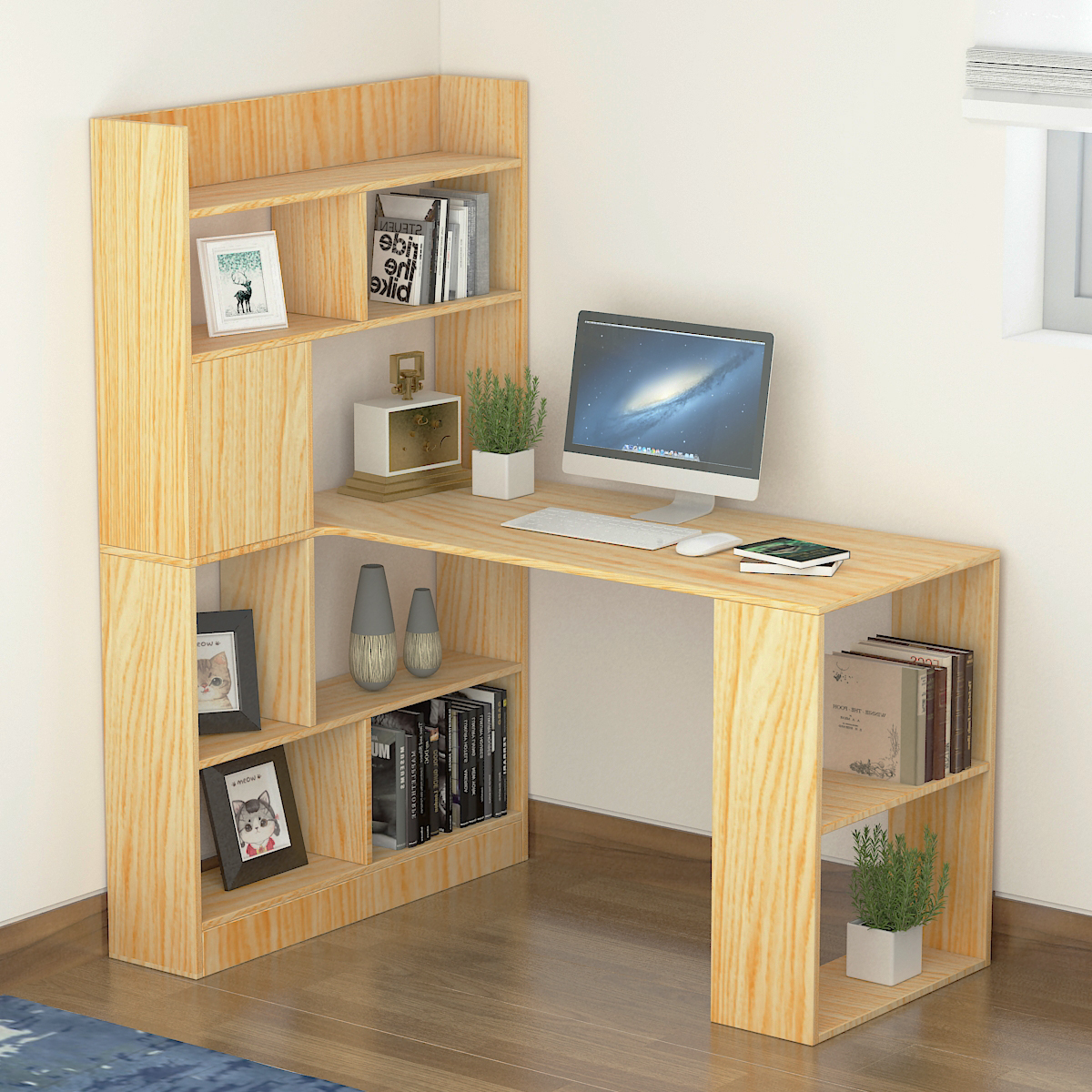 Image of: Modern Computer Desk With Storage Bookshelf Computer Desk With 5 Tier Storage Shelf Large Home Office Desk Study Writing Table For Small Space Workstation With Corner Bookshelf Oak Walmart Com Walmart Com