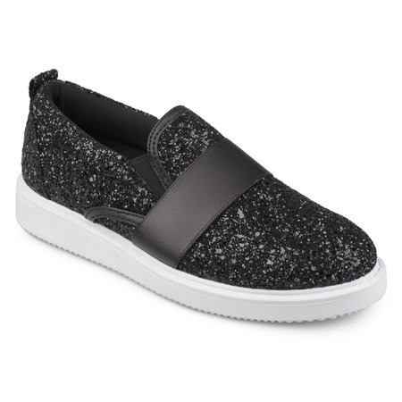 Women's Glitter Ribbon Slip-on (Girl's Silver Glitter Shoes)