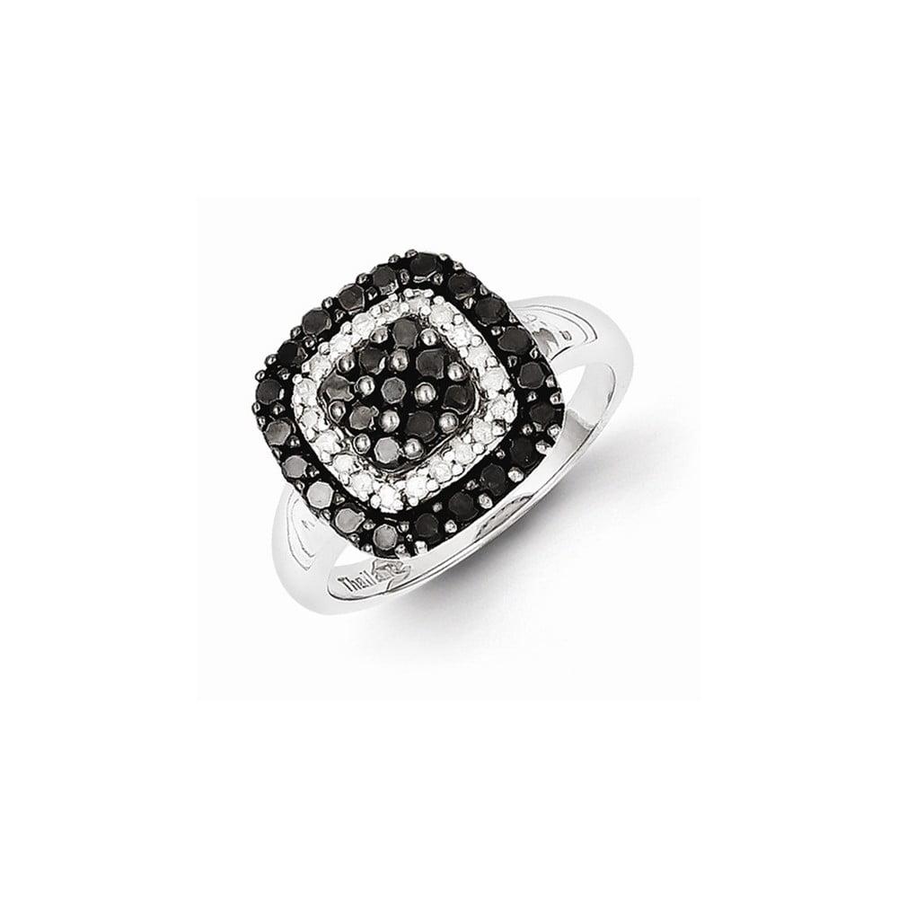 Sterling Silver Black & White Diamond Ring (1ct)