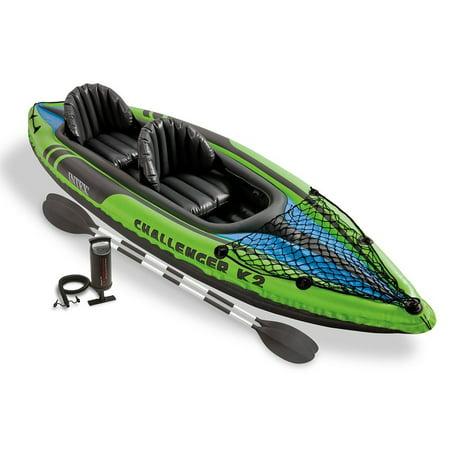 Intex Challenger K2 Kayak, 2-Person Inflatable Kayak Set with Aluminum Oars a... 2 Person Aluminum Kayak