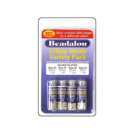 Beadalon Crimp Bead Variety Pack #0-3 Silver Plated, 600 piece