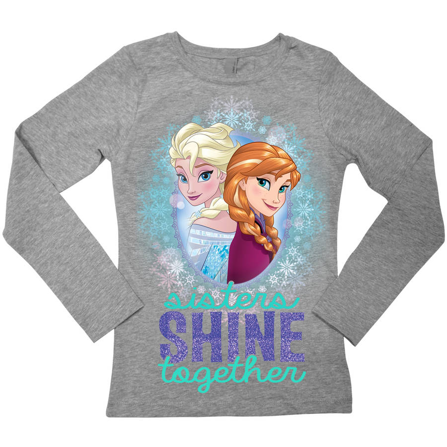 "Disney Frozen Elsa and Anna ""Sisters Shine Together"" Girls' Long Sleeve Crew Neck Graphic Tee T-Shirt"