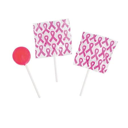 Pink Awareness Ribbon Printed Lollipops