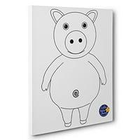 Little Baby Bum Pig Kids Room Coloring Canvas Decor