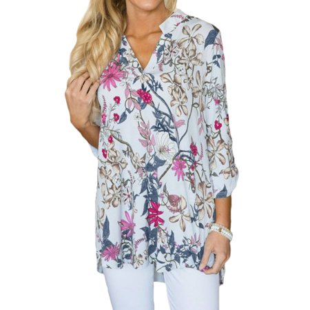 Nlife Women V Neck Long Sleeve Floral Print Top