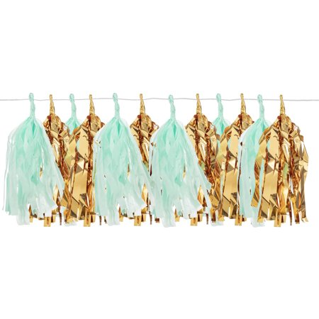 Darice Gold & Mint Mylar Tassel Garland, 12 Tassels, 6ft - Gold Garland