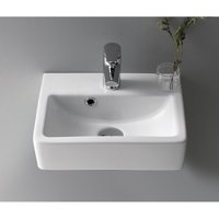 CeraStyle by Nameeks Mini Ceramic 15'' Wall Mount Bathroom Sink with Overflow