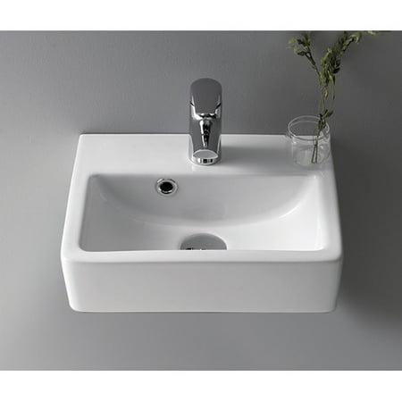 CeraStyle by Nameeks Mini Ceramic 15\'\' Wall Mount Bathroom Sink with ...