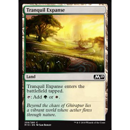 MtG Core Set 2019 Tranquil Expanse Land. Tranquil Expanse enters the battlefield tapped. : Add  or . Art by Sam Burley
