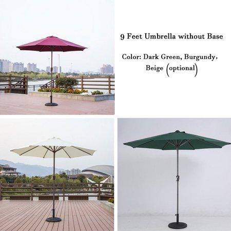 9ft Outdoor Adjustable Height Anti-UV Patio Umbrella 8 Rib Market Umbrella Fade Resistant Sunshade Beach Umbrella Garden Shade or Pool with Crank without Base - image 1 de 7