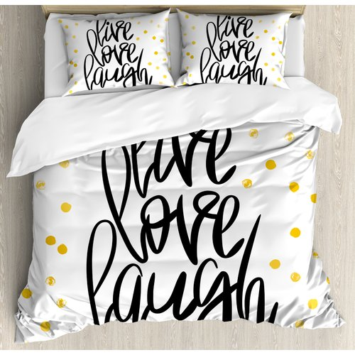 Ambesonne Live Laugh Love Stylized Hand Lettering on Dotted Backdrop Inspirational Phrase Duvet Cover Set