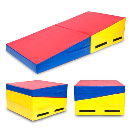 "Zimtown 60"" x 30"" x 14"" / 48"" x 24"" x 14"" Gymnastics Cheese Mat, Folding Incline Mat Tumbling Wedge Skill Shape, for Home Gym Aerobics Exercise, Stretching"