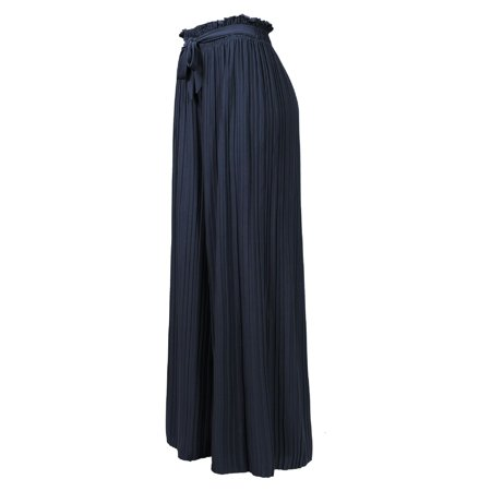 Made by Olivia Women's Ribbon Tie Chiffon Loose Pleated Wide Leg Palazzo Pants Navy Blue
