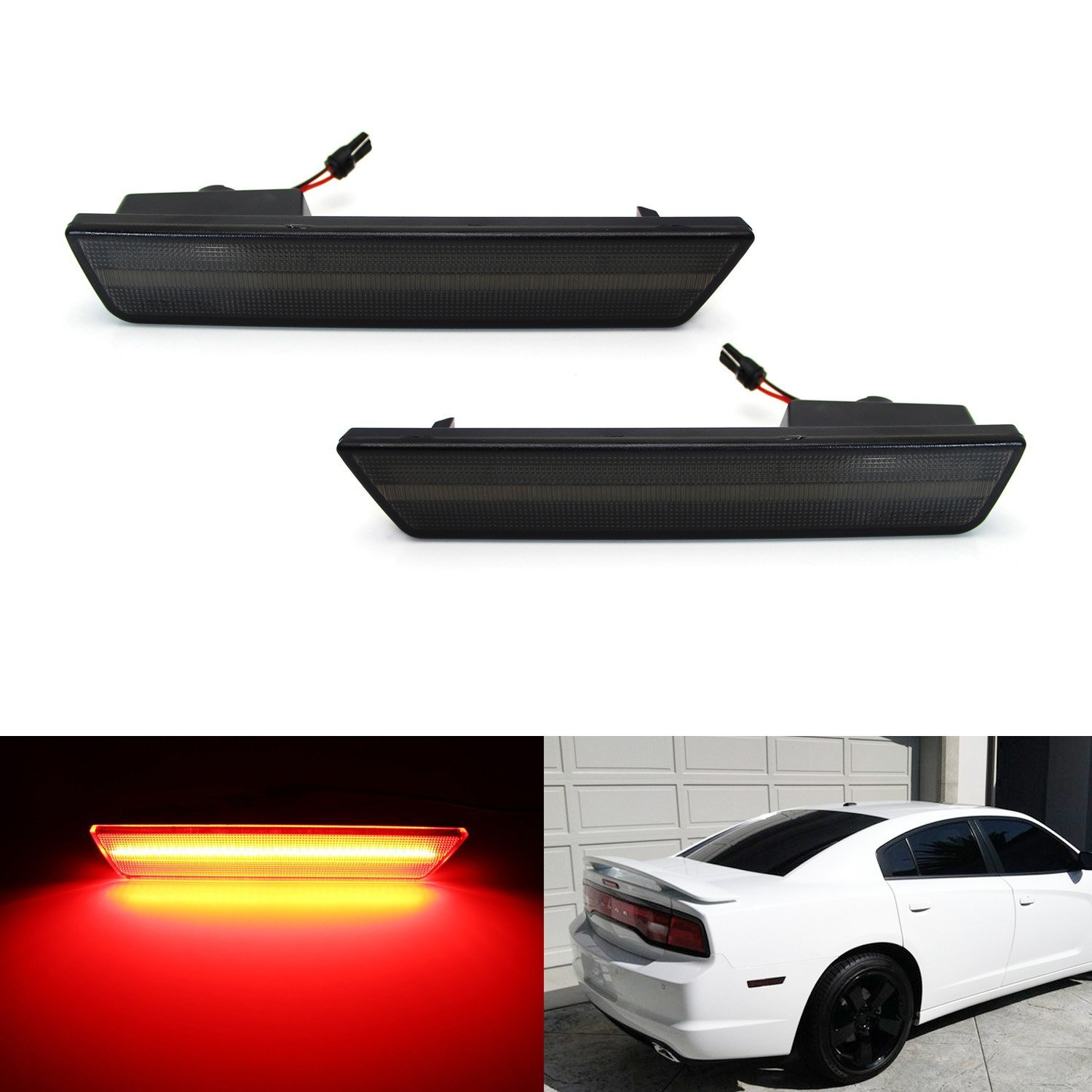 iJDMTOY (2) Smoked Lens Rear Side Marker Lamps with 36-SMD Red LED Lights For 2008-2014 Dodge Challenger, 2011-2014 Dodge Charger