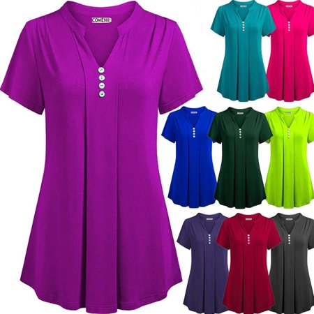 1 Ladies Green - Women Summer Casual Solid Short Sleeve Tops Sexy Deep V-neck Button Chemise Loose Blouse Cotton Silk T-shirt Plus Size
