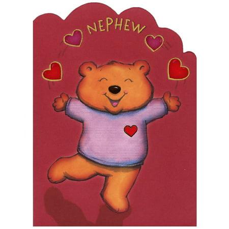 Designer Greetings Bear Juggling Hearts Die Cut: Young Nephew Valentine's Day Card