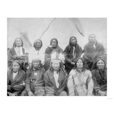 Lakota Indian Chiefs who Met General Miles to End Indian War Photograph - Pine Ridge, SD Print Wall Art By Lantern Press (Indian Wood Photograph)