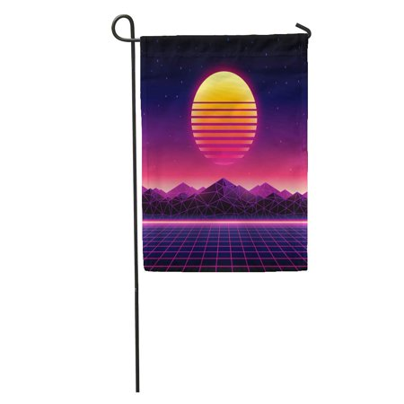 SIDONKU Retro Futuristic 1980S Digital Landscape in Cyber World Wave Music Album Sun Space Mountains and Laser Garden Flag Decorative Flag House Banner 28x40 inch