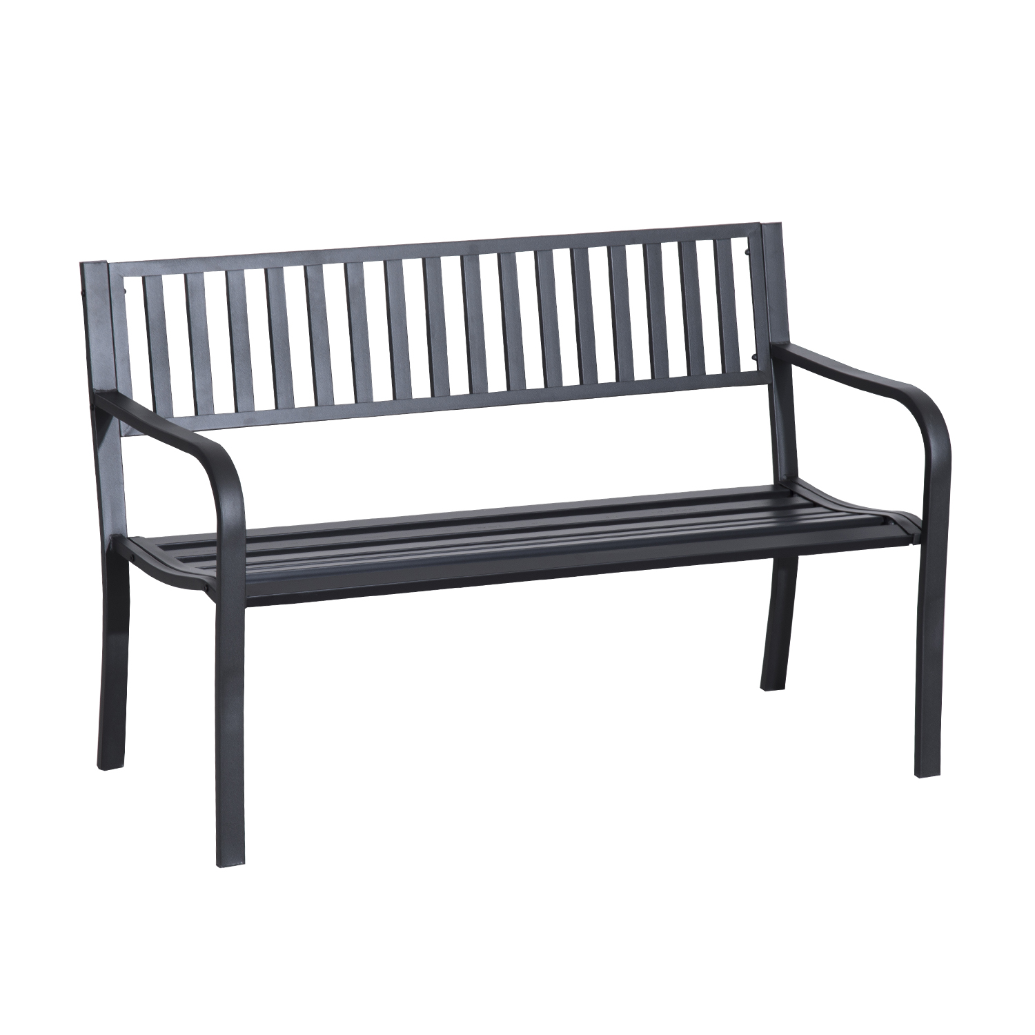Outsunny 50 Slatted Steel Decorative Patio Garden Bench