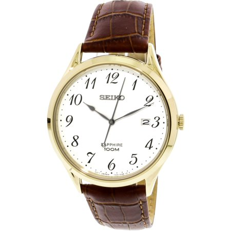 Gold Leather Watch (Seiko Men's SGEH78 Gold Leather Japanese Quartz Fashion Watch)