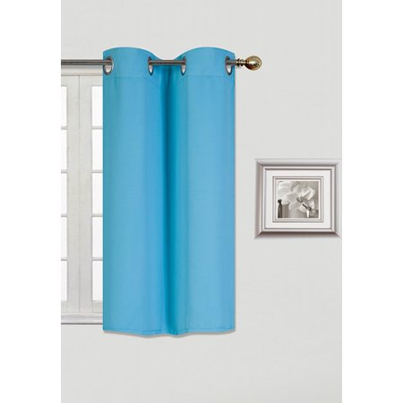 k54 aqua blue 1 panel silver grommets kitchen tier window curtain 3 layered thermal heavy. Black Bedroom Furniture Sets. Home Design Ideas