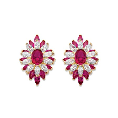 Oval and Marquise-Cut Created Red Ruby and Cubic Zirconia Floral Earrings 8.84 TCW 14k Gold-Plated 14k 6x4mm Oval Ruby Earring