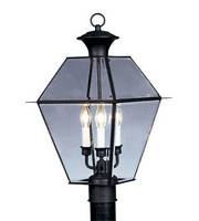 Outdoor Post 3 Light With Clear Beveled Solid Brass Black size 12 in 180 Watts - World of Crystal