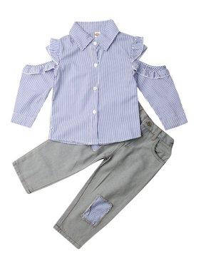 Toddler Baby Girl Autumn Casual Clothes Striped Tops Shirt+Jeans Pants Outfits