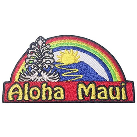Hawaii Aloha Maui Iron-On Embroidery Applique Patch