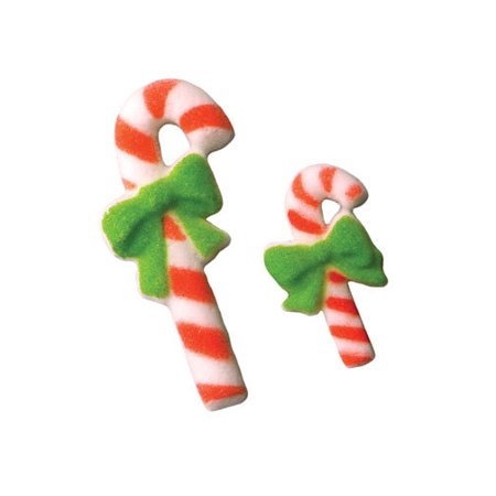 Candy Cane Christmas Sugar Decorations Toppers Party Favors Cookie Cupcake Cake 12 Count