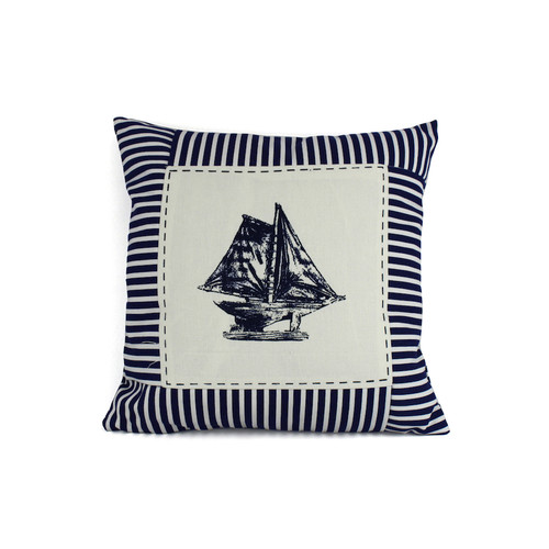 Handcrafted Nautical Decor Sloop Nautical Stripes Decorative Throw Pillow by Handcrafted Model Ships