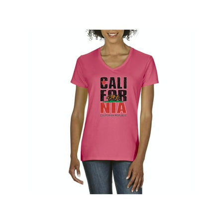 California Republic CA Bear Women V-Neck T-Shirt