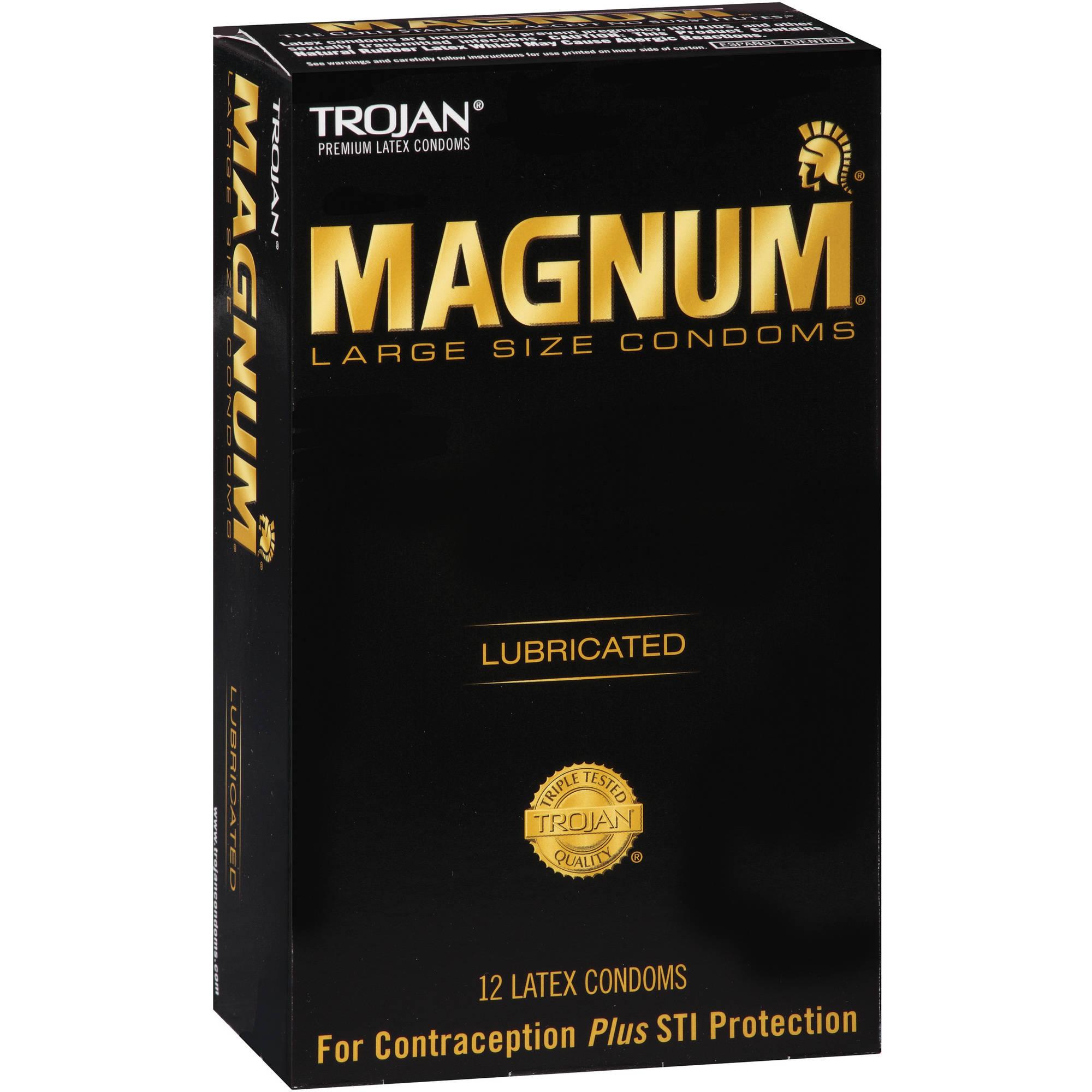 Trojan Magnum Lubricated Premium Latex Condoms, Large, 12 count
