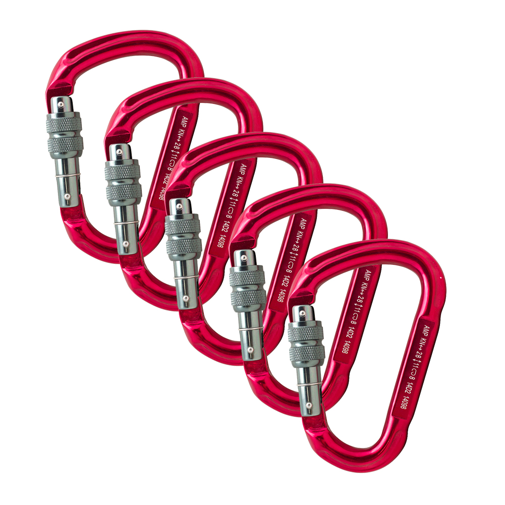 Fusion Climb Eureka Aluminum Screw Gate Pear Shape Carabiner 5-Pack
