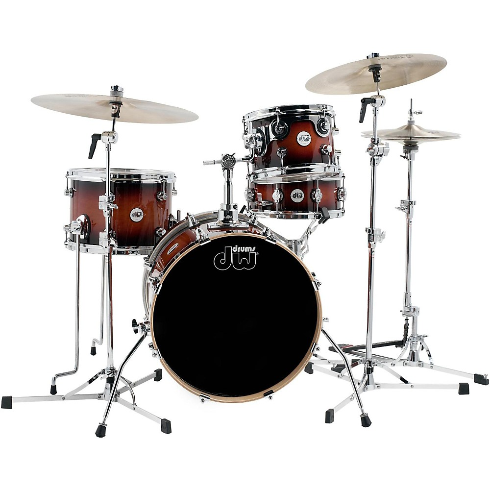 DW Design Series Mini-Pro 4-Piece Shell Pack with a 18 Inch Bass Drum Tobacco Burst