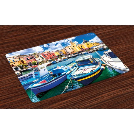 Italy Placemats Set of 4 Colorful Procida Island with Fishing Boats Summertime Tourism Vacation Travel Theme, Washable Fabric Place Mats for Dining Room Kitchen Table Decor,Multicolor, by Ambesonne