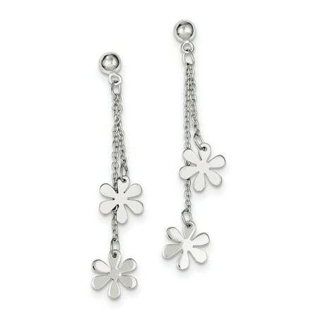 (925 Sterling Silver Flower Dangle Post (11x55mm) Earrings)
