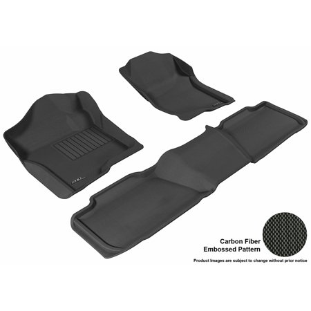 3D MAXpider 2007-2014 Chevrolet Tahoe Front & Second Row Set All Weather Floor Liners in Black with Carbon Fiber