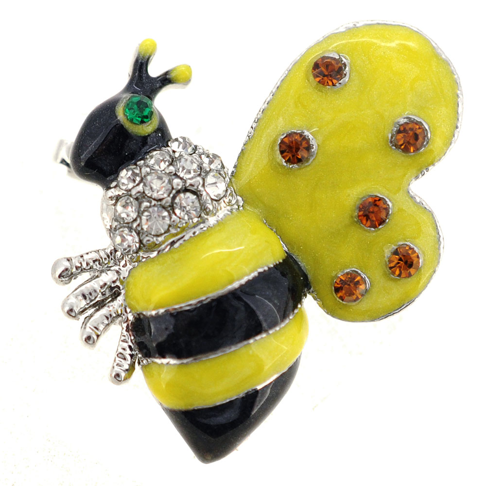 Black Yellow Bee Bug Swarovski Crystal Brooch Pin by