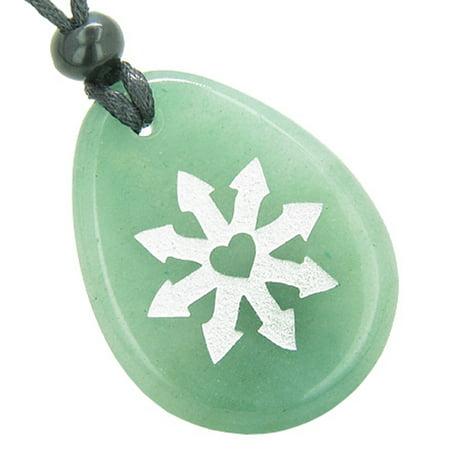 Tibetan Gau Box Pendant (Tibetan Buddha Wheel of Fortune Good Luck Amulet Green Quartz Pendant Necklace )