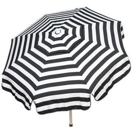 DestinationGear Italian 6' Umbrella Acrylic Stripes Black and White Patio Pole