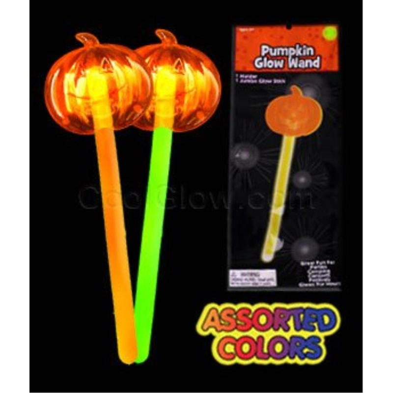 Fun Central X551 4 pcs Assorted Glow in the Dark Pumpkin Wand, Glow Stick Wand, Glowing Stick Wands, Light Up Stick Wand, Glowing Magic Wand - for Halloween, Costume Parties, Glow themed Events