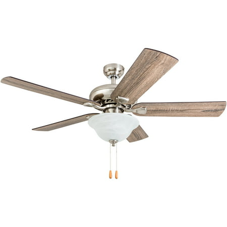 Prominence Home 50660-35 Roadside Trail Farmhouse 52-Inch Brushed Nickel Indoor Ceiling Fan, LED Bowl Light with Barnwood/Tumbleweed