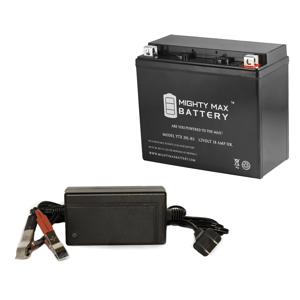 YTX20L-BS Battery for Yamaha XV1600 Road Star 99-03 + 12V 4Amp Charger by Mighty Max Battery
